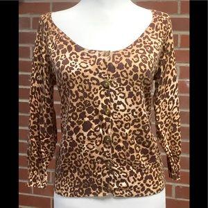 delia*s Cardigan Sweater M Brown Animal Leopard